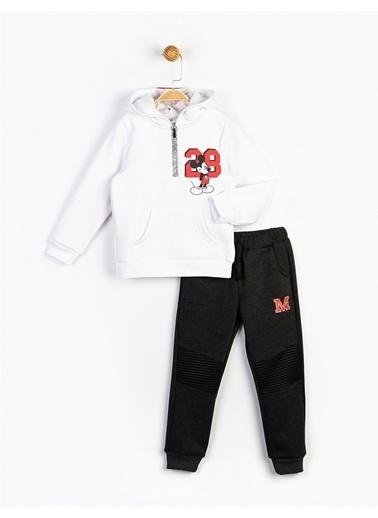 Mickey Mouse Kapüşonlu Çocuk Takım 16247 Beyaz